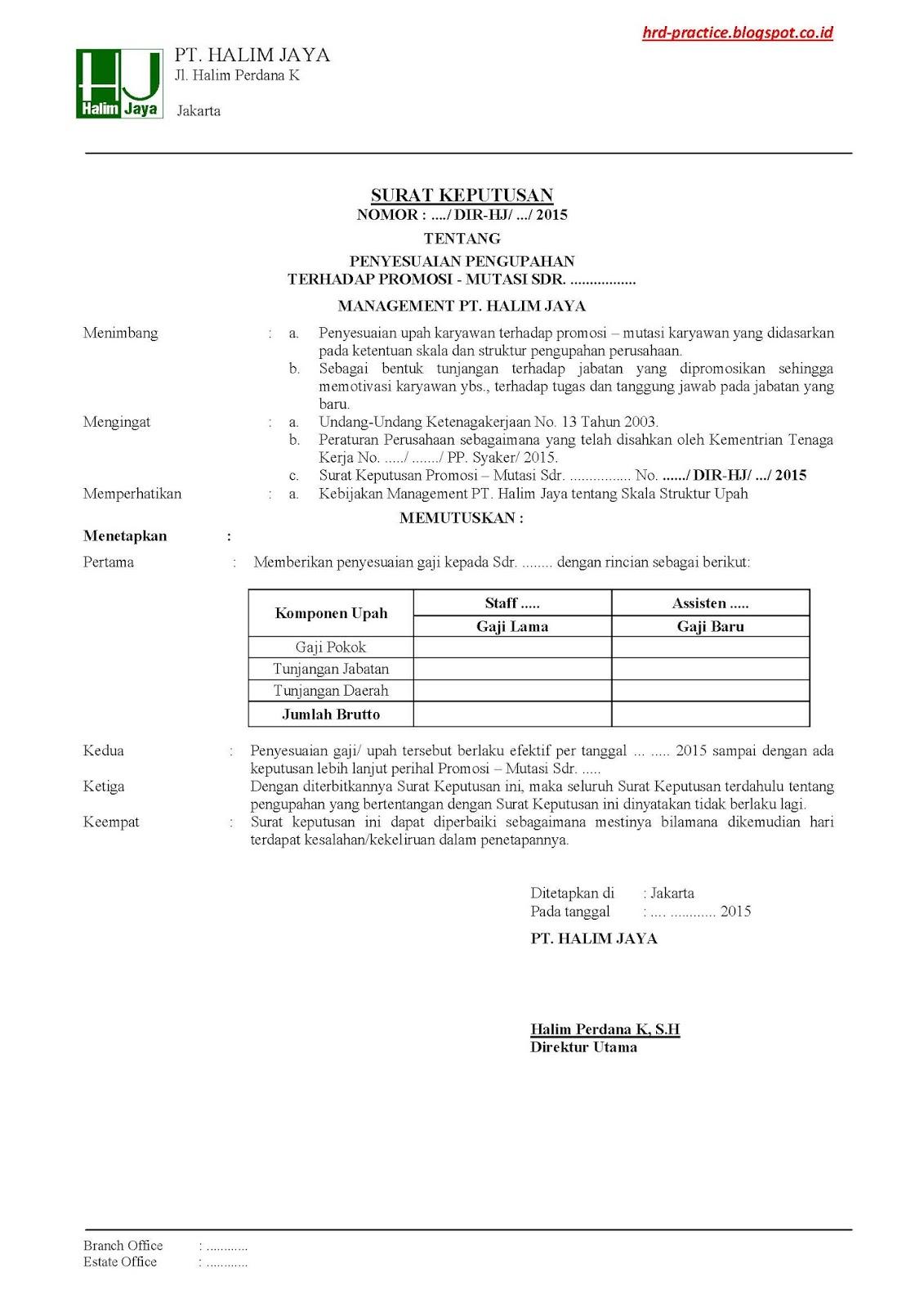 surat keputusan direksi tentang penyesuaian upah promosi mutasi contoh 1 hrd practice