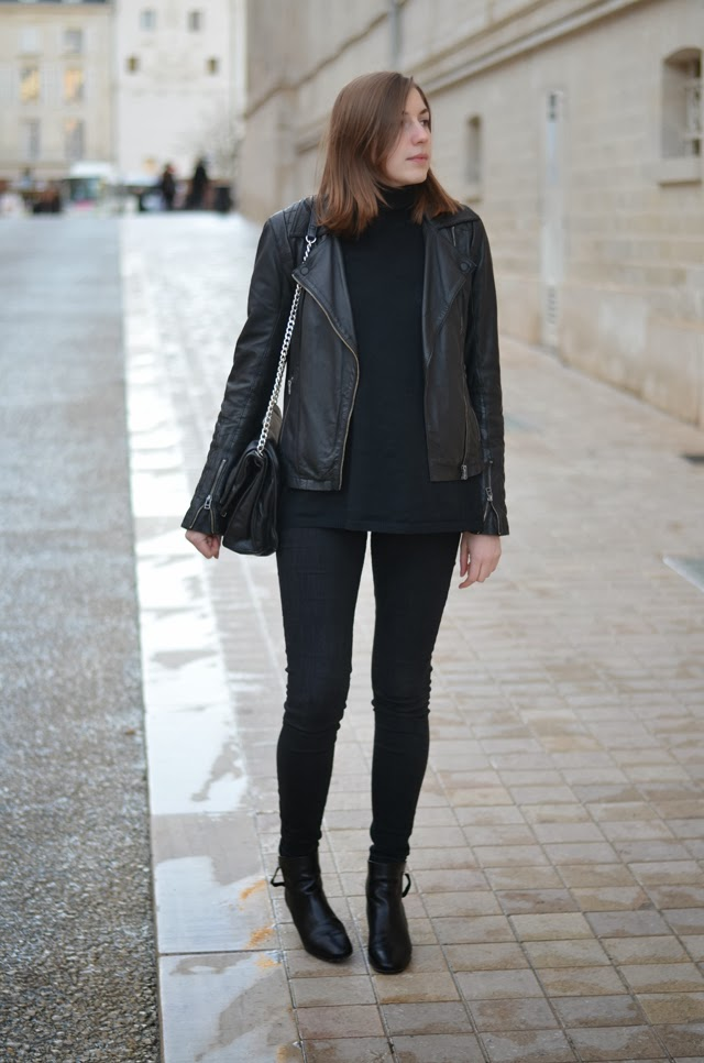 total look noir zara