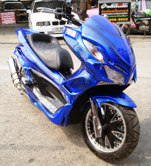 Modifikasi Honda PCX 150 Blue Monster