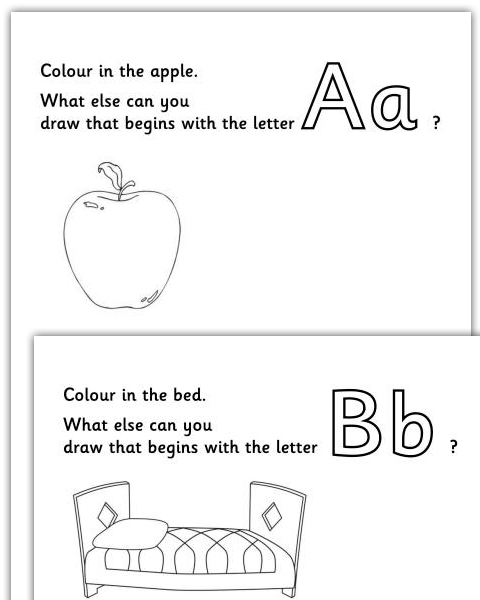 Imagination Alphabet Colouring Pages