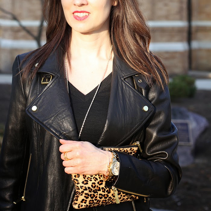 leather moto jacket, kendra scott, rayne necklace, leopard, clutch, leather jacket, fall style, over 40 fashion, style