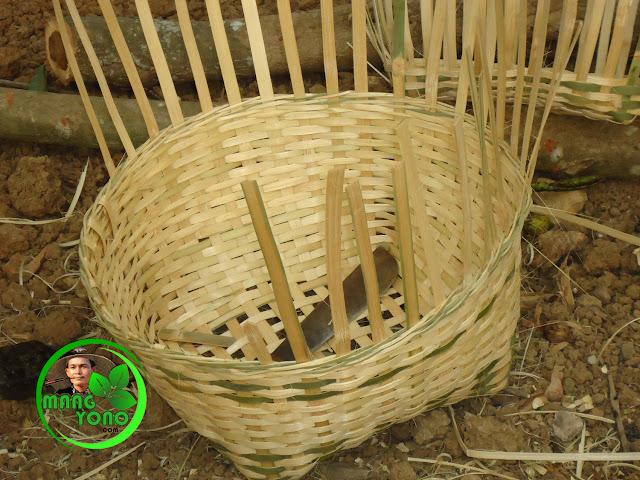 FOTO : Carangka anyaman bambu model anyaman tunggal