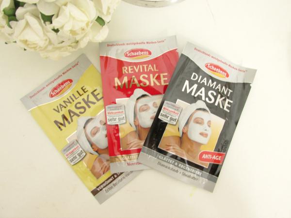 Schaebens Masken Probiergrößen vanille, revital und diamant Gesichtsmasken, review, testbericht, erfahrungen