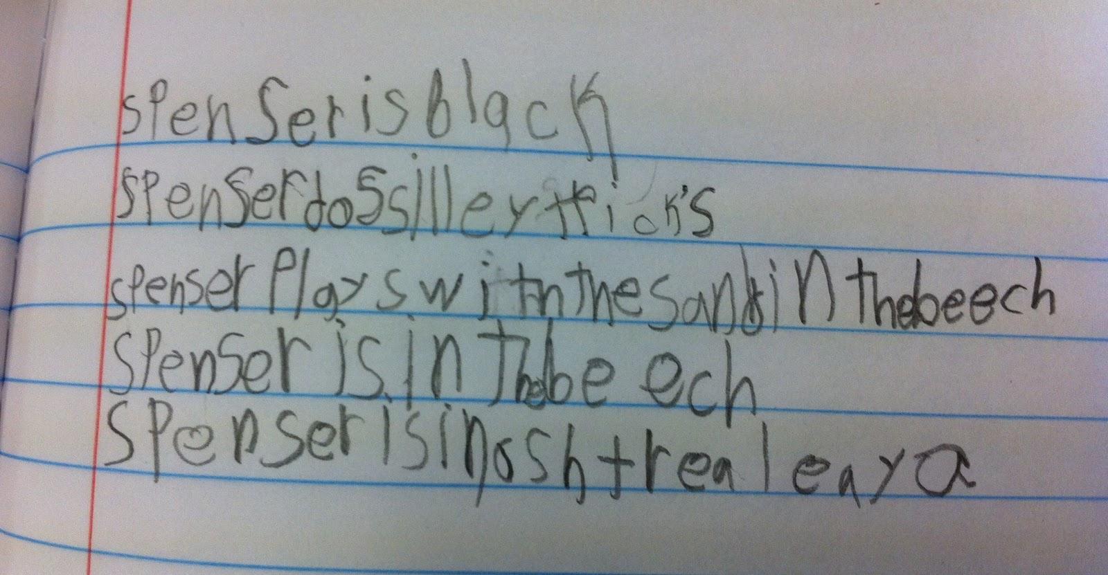 Childs writing