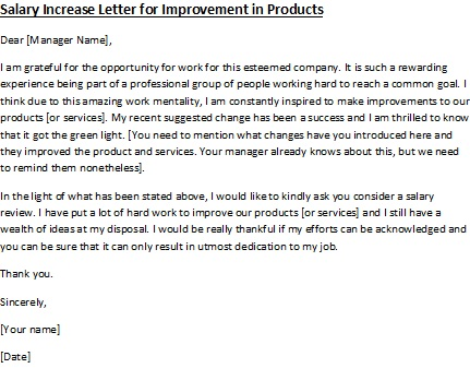 Salary Increase Letter for Improvement in Products – Request for Increment Letter