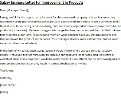salary increment letter for improvement in product