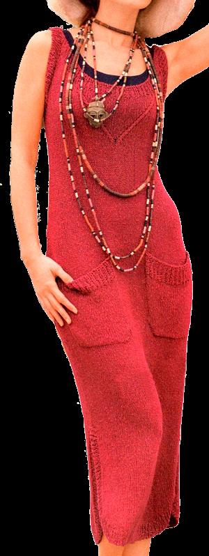 Элегантное длинное красное платье в стиле сафари, связанное спицами