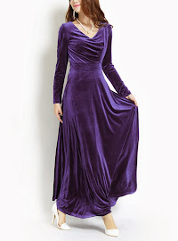 Long Sleeved Superior Quality Velvet Flare Maxi Dress