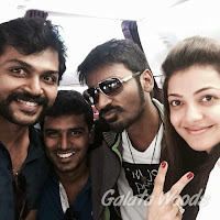 Kajal Agarwal And Dhanush Images During The Maari Shooting Spot