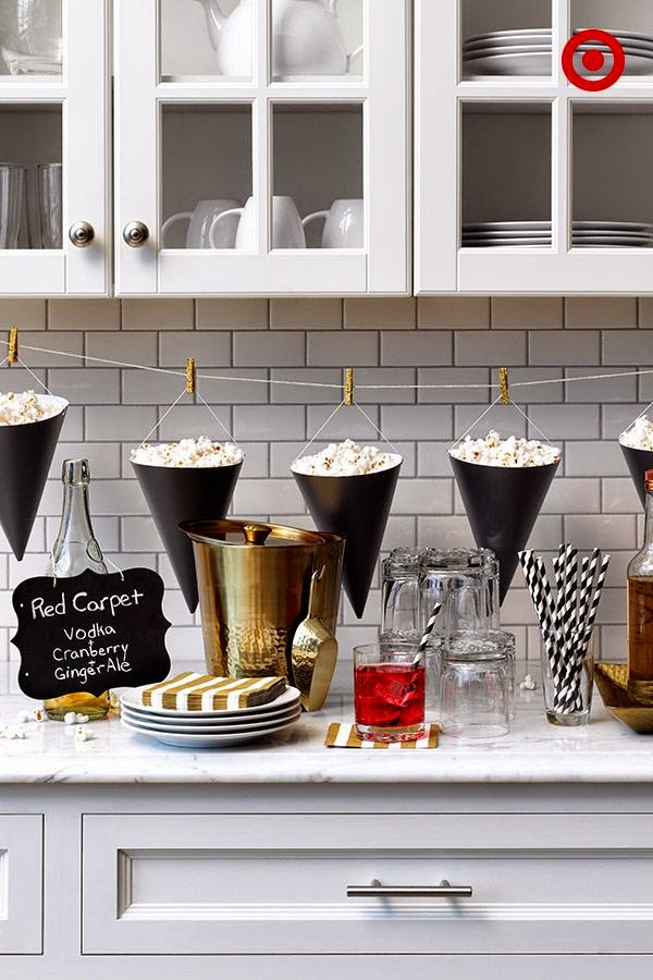 Popcorn Bar ideas for an Oscars/Academy Awards viewing party; Target