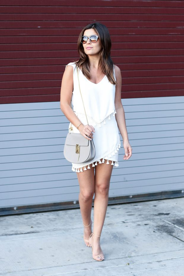 """""""It's no secret that tassels are here to stay."""" -@Sara // Style MBA, in coordinated H&M summer whites.   H&M OOTD"""