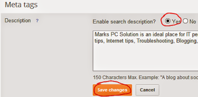 Enabling Search result description for blogger blog