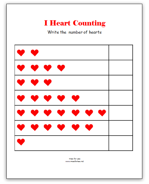 Valentine's Math - Kindergarten Worksheets | Mess For Less