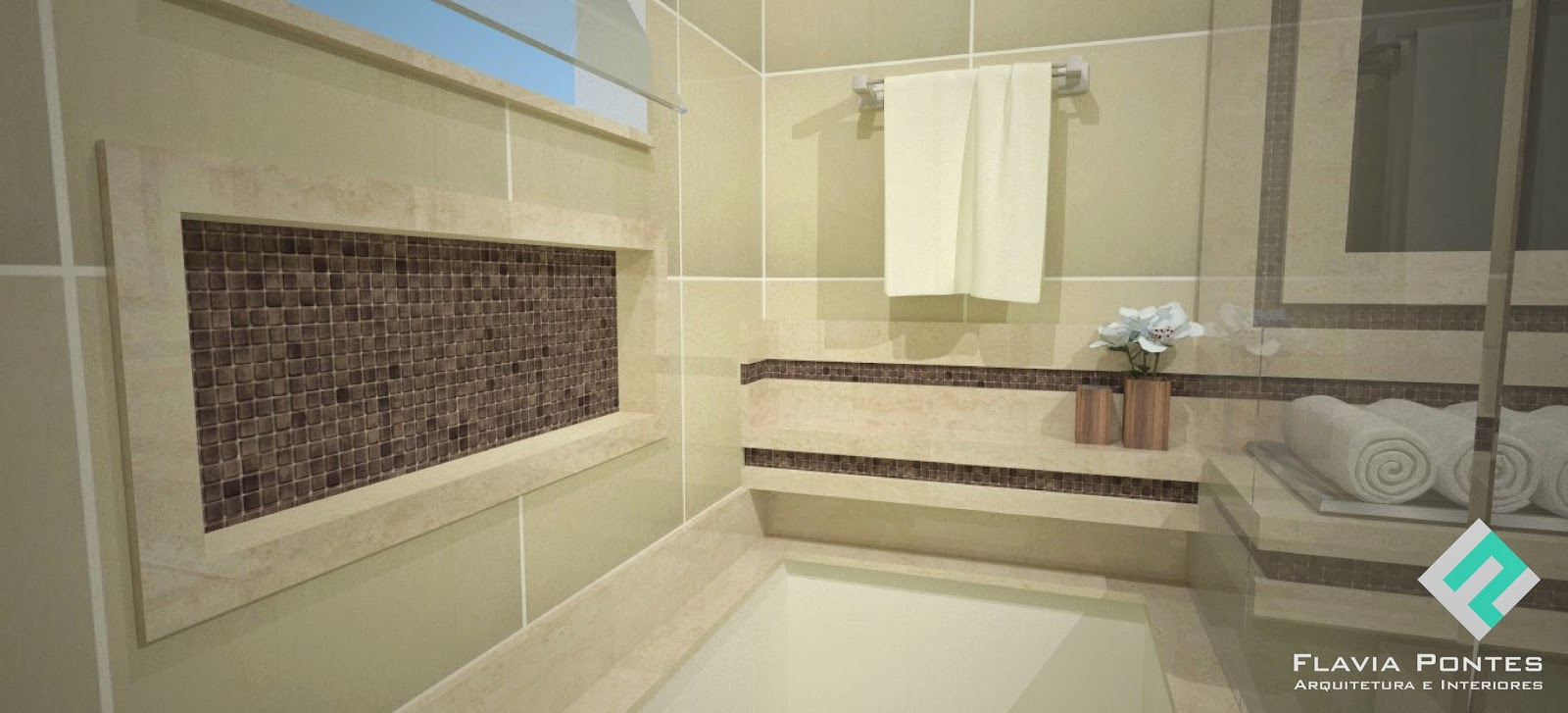 Flavia Pontes Arquitetura -> Banheiro Pequeno Com Banheira E Chuveiro Juntos