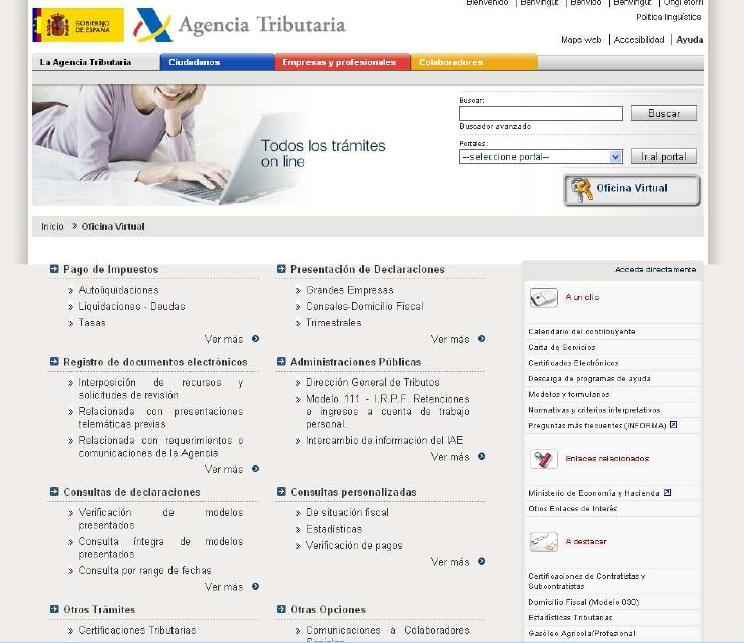 Adelantat e ejemplos de servicios destacados de for Oficina virtual de la agencia tributaria