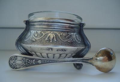 Russian Melhior/Soviet Era Enamel & Silver Alloy Salt, Spoon marked 2UMMET