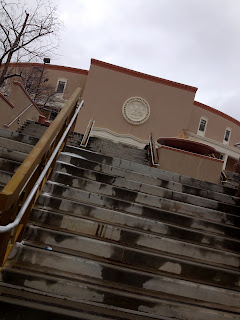 A look at the steps leading up the Roundhouse in Santa Fe, NM