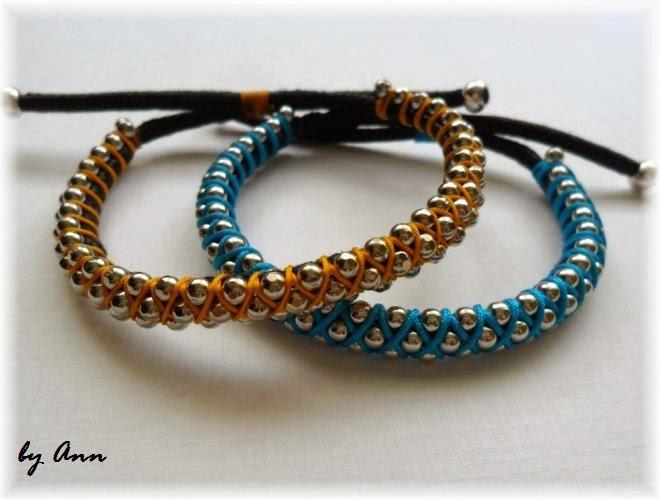 bransoletka łańcuszek kulkowy sznurek woskowany niebieski żółty