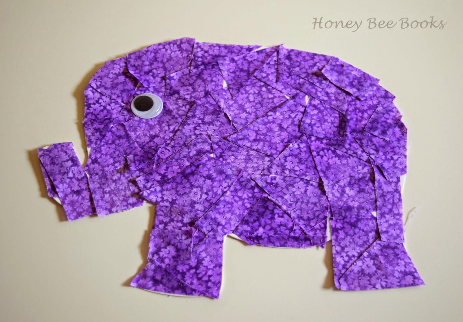 Purple elephant fabric collage