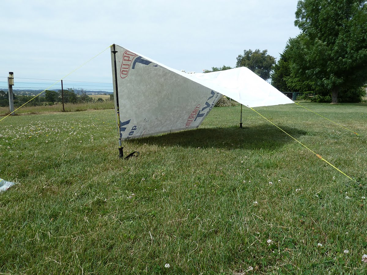 Deployment as a shade tarp & Bushwalking Light: MYOG - Tyvek Groundsheet