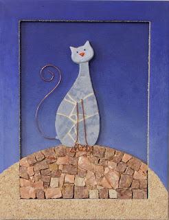 création d'un tableau chat bleu en mosaïque et peinture ideal pour cadeau de naissance pate de verre marbre faience tout l'univers créatif de mimi vermicelle