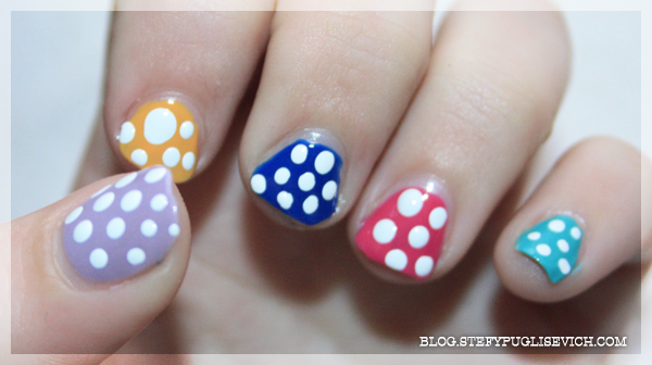 nails rainbow polka dots stefytalks