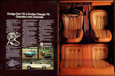 propaganda Dodge Dart e Charger - Chrysler - 1976.  brazilian advertising cars in the 70. os anos 70. história da década de 70; Brazil in the 70s; propaganda carros anos 70; Oswaldo Hernandez;