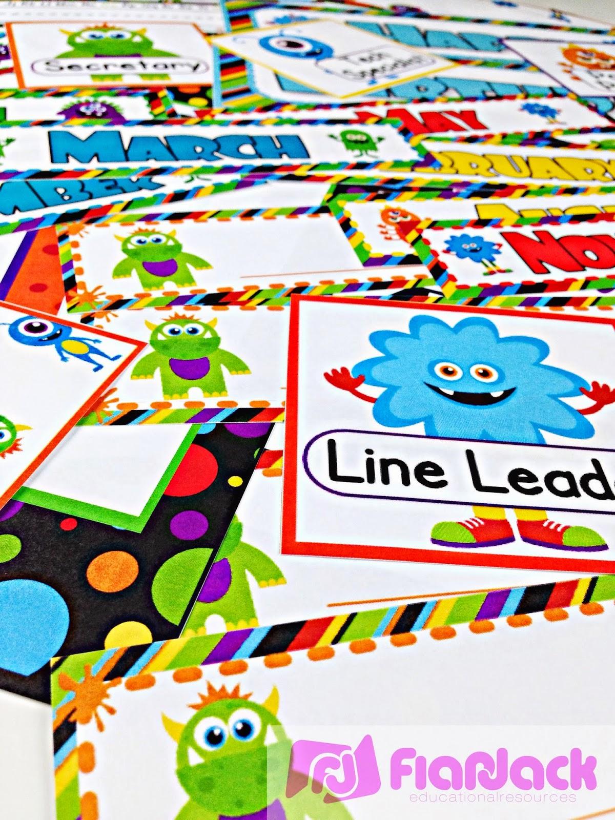 http://www.teacherspayteachers.com/Product/Monster-Themed-Classroom-Materials-Pack-265242