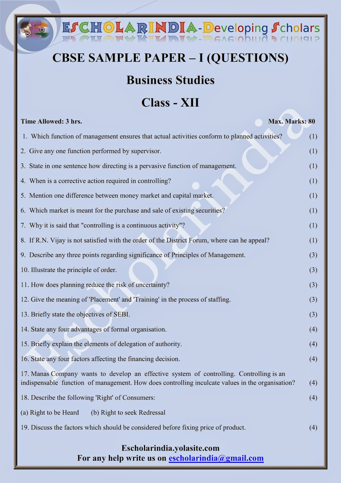 Escholarindia developing scholars cbse class 12th business cbse class 12th business studies mock test papers questions solutions 1 cbse board 2015 malvernweather Choice Image