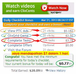 cara saya mendapatkan uang $7 dalam 1 hari diclixsense