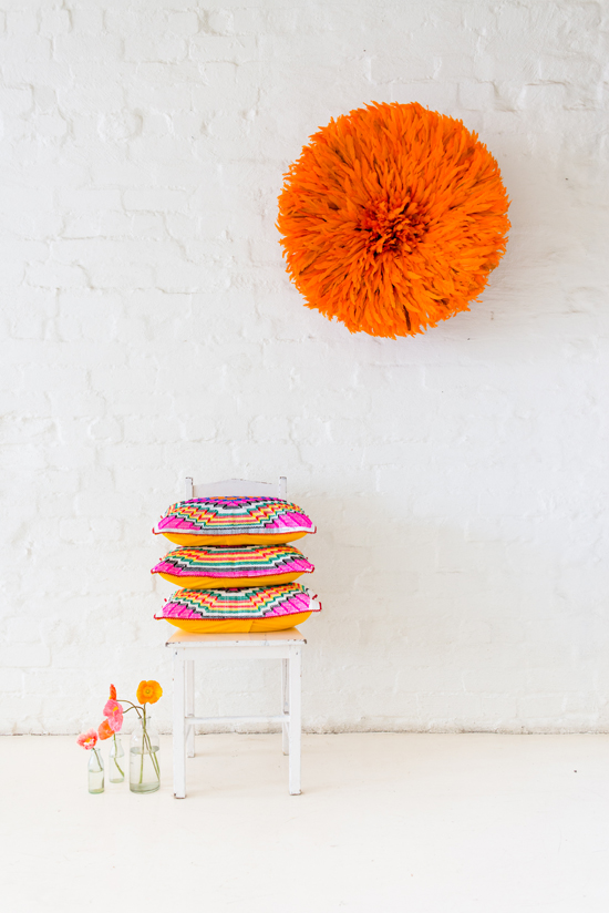 Safari Fusion blog | Langazela Cushions | Chevron design | Bright coloured wool embroidered on recycled corn sacks by Safari Fusion