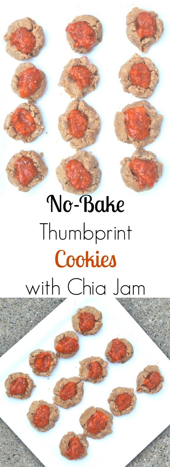 No-Bake Thumbprint Cookies with Chia Jam