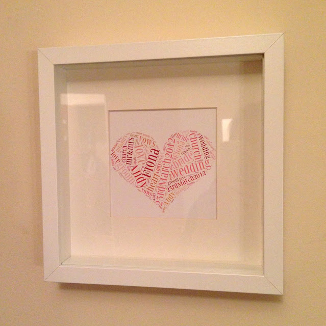homemade wedding present, word art, ikea box frame