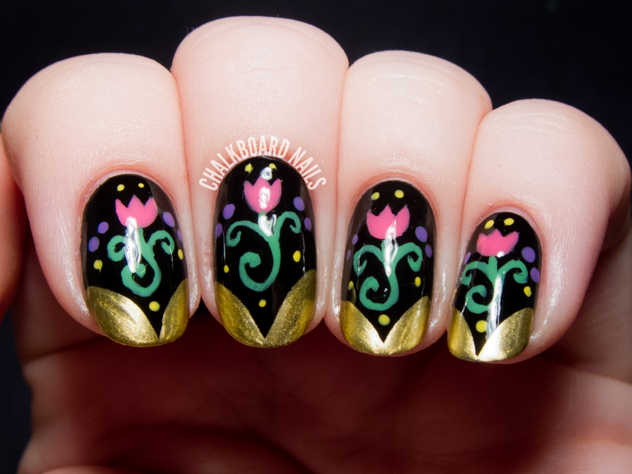 Anna-inspired Frozen nail art by @chalkboardnails