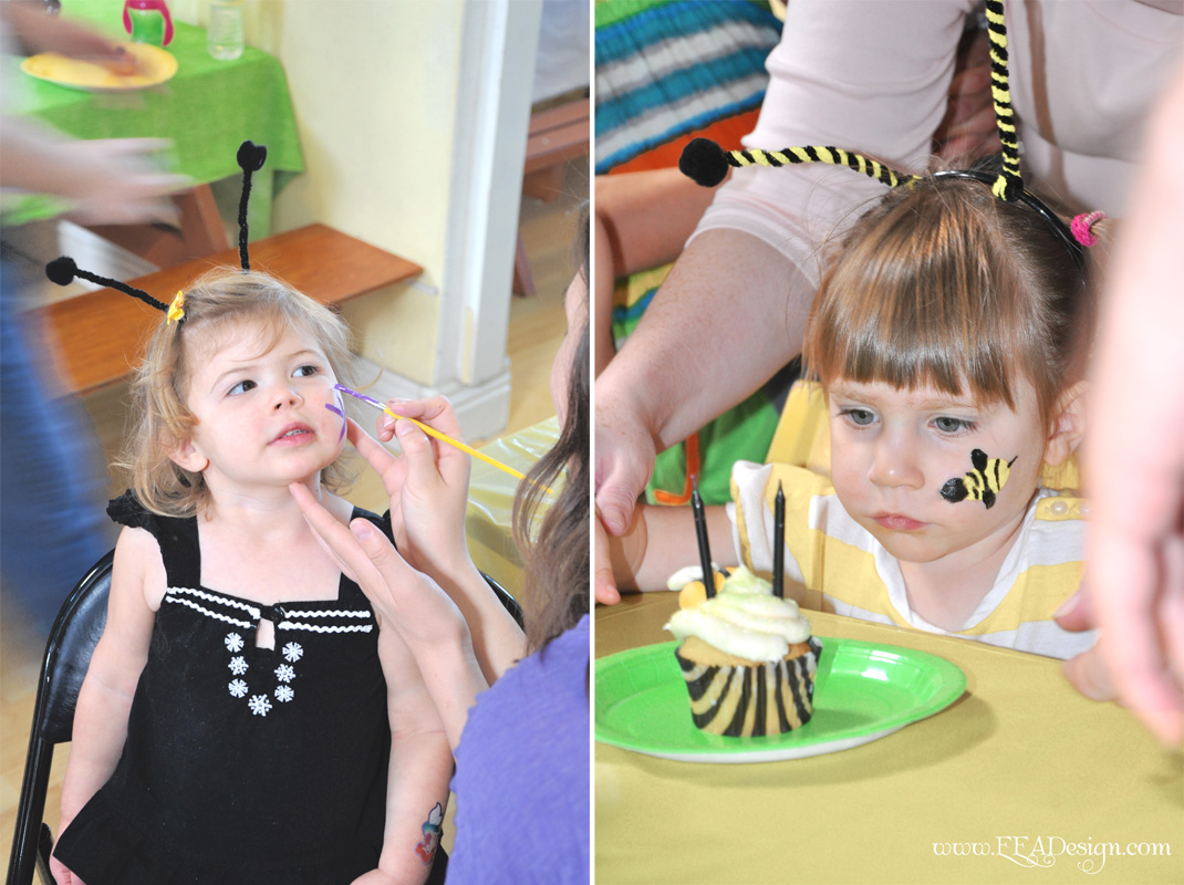 Face Paint Bumble Bee http://eeadesign.blogspot.com/2011/04/event-recap-samarras-bumble-bee.html