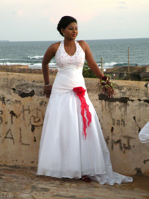 Sri Lankan bride wearing white wedding dress