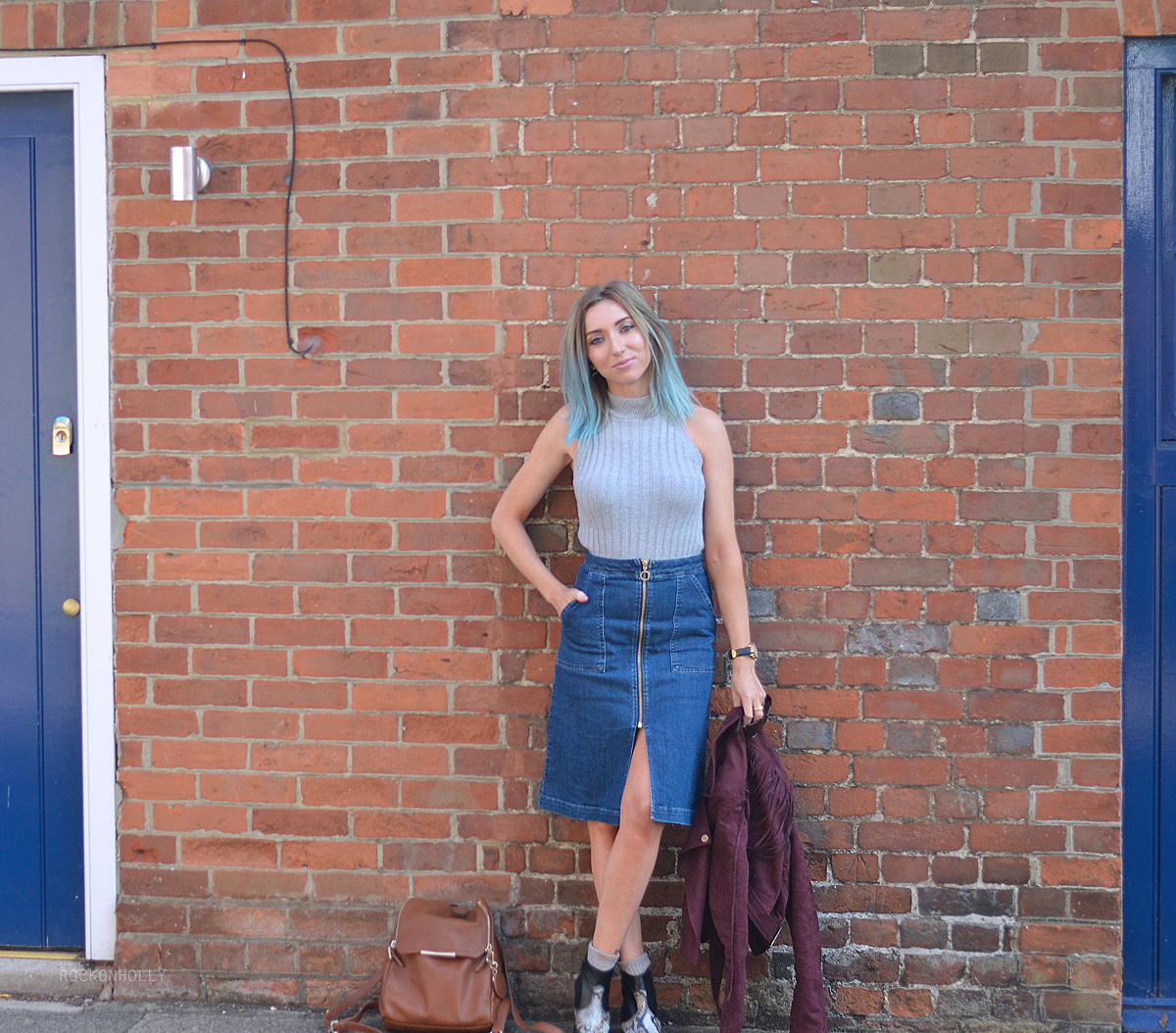Miss Selfridge Denim Midi Skirt on Rock on Holly