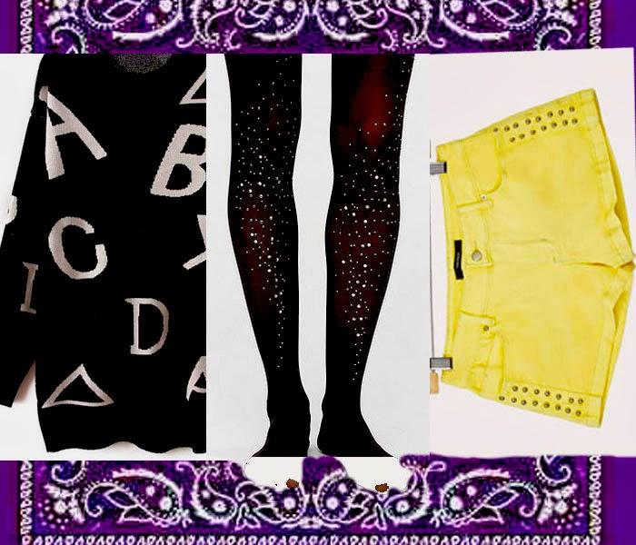 Israeli fashion blog,Letters sweater, Studded shorts, Bandana