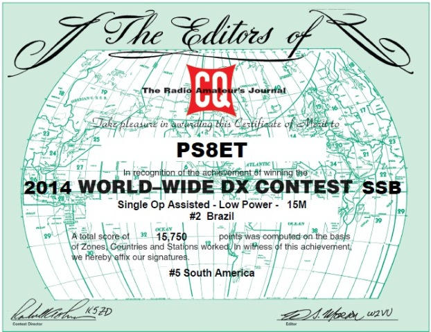 CQWWSSB 2014 - 2º lugar Brasil 15m Low