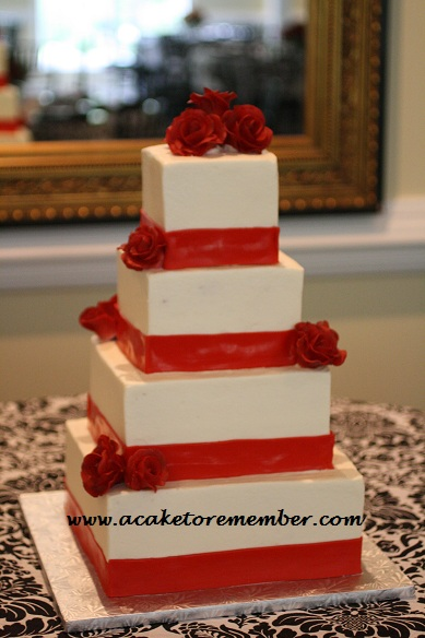 A Cake To Remember VA: Classic Red Roses Wedding Cake
