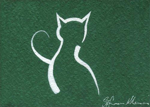 gatto stilizzato dipinto pittura orme magiche quadro disegno pittura spirituale arte zen
