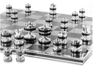 sterling silver chess set made by geoffrey parker