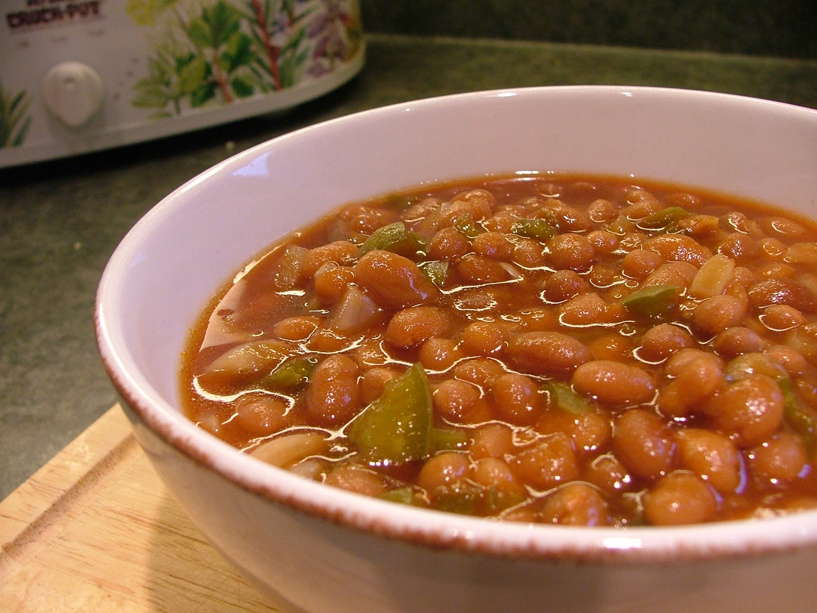 Baked beans slowly cooked with chopped green bell peppers and onions ...