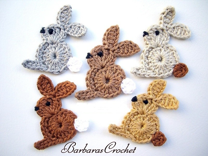 Crochet Applique : Crochetpedia: 2D Crochet Rabbit / Bunny Applique