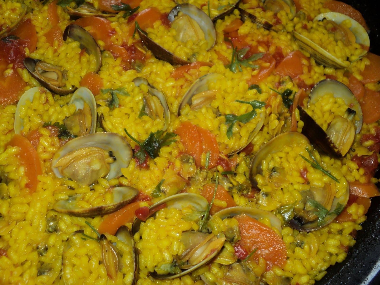 Cocinar para los mios paella con zanahorias y almejas Cocinar con 5 ingredientes