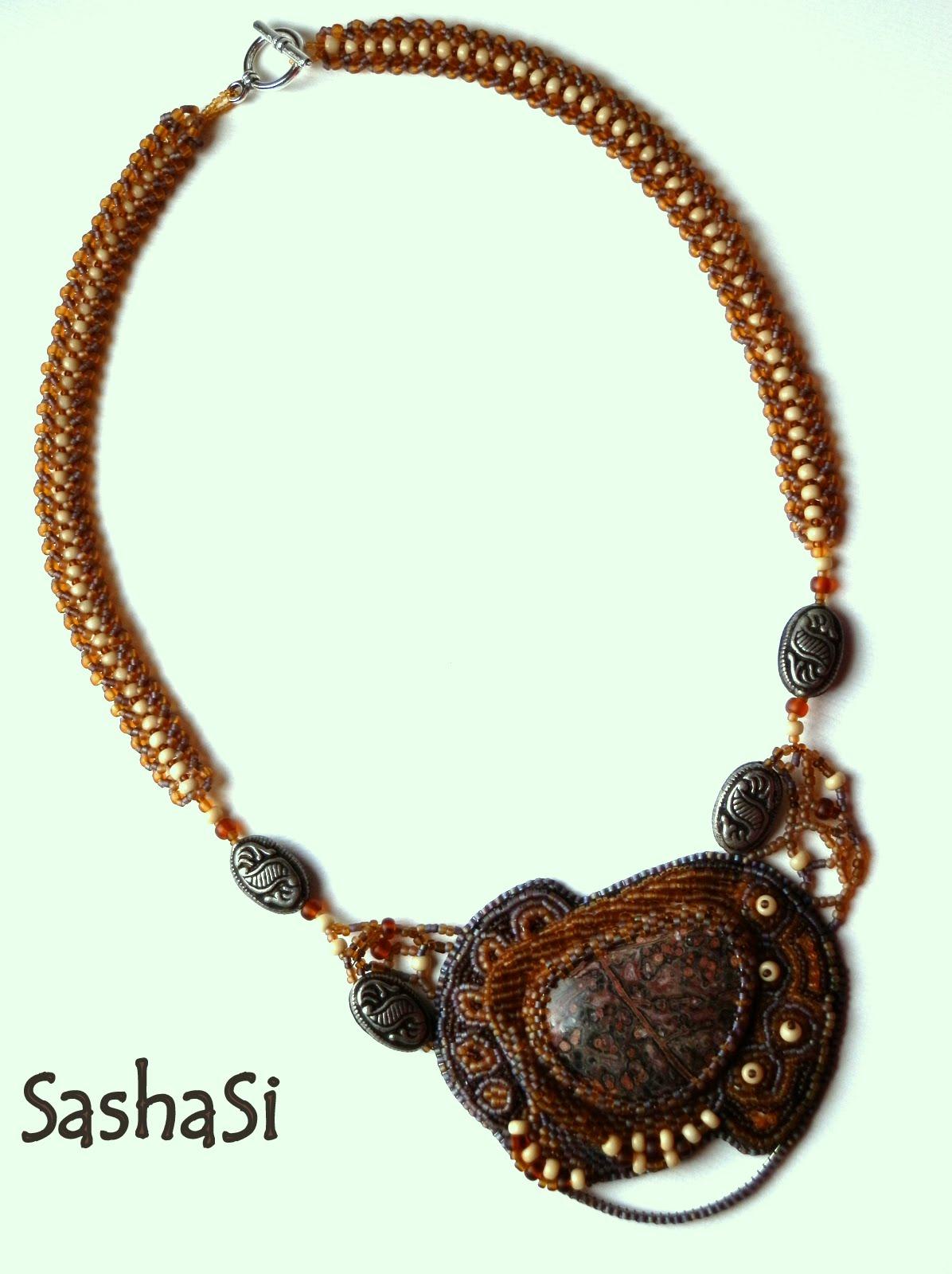 Bead embroidery shambala necklace sasha si