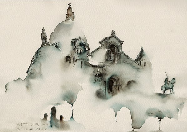 Water colour picture of Sacre Coeur churt in Montmartre, Paris