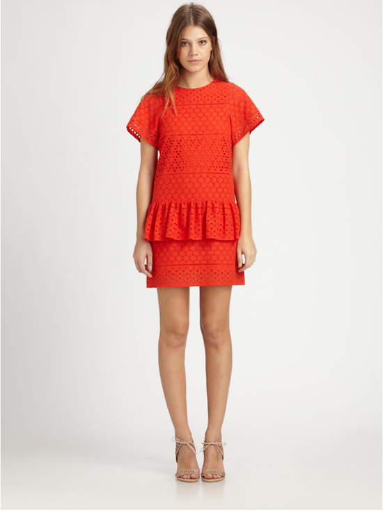 Thakoon Addition Eyelet Peplum dress in Poppy Saks Fifth Avenue