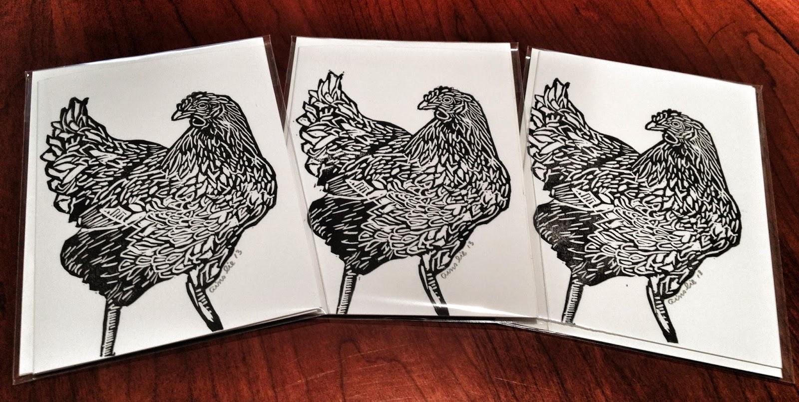 Block print, lino print, art card, chicken card, bird card, farm animal