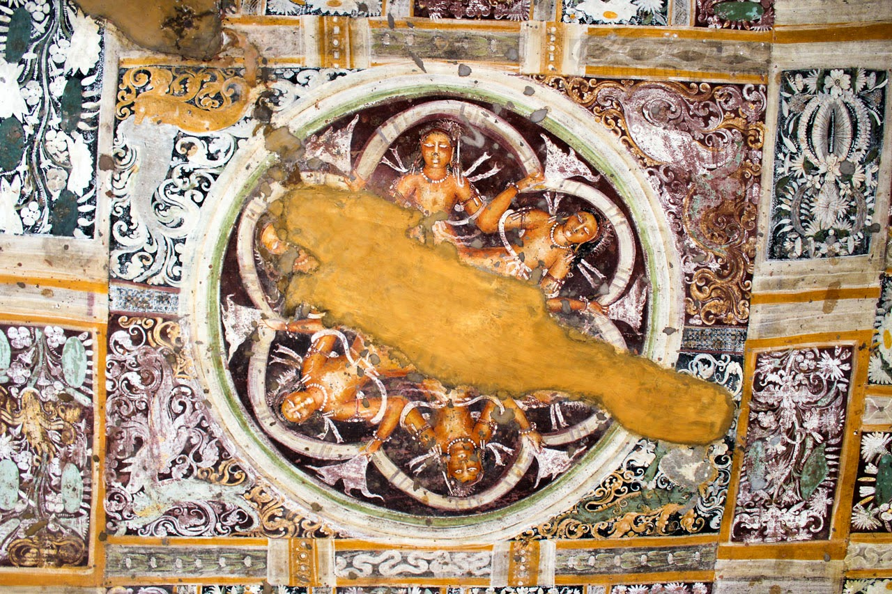 Stunning paintings on the verandah ceiling of Cave 17